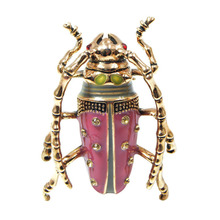 Pink Color Rhinestone Beetle Brooch Cute Enamel Pins Vintage Brooches Exquisite Personalized Broches Fashion Jewelry BR20074(China)