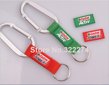 1000pcs/lot  Custom LOGO silicone laber sewing Hand Wrist Strap Lanyard Outdoor camping wrist strap with  Carabiner