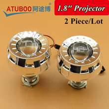 "2pcs/Lot,1.8"" HID Bi-Xenon Projector Lens with Shroud Using H1 Bulb Socket for H4 H7 car Headlight motorcycle Mini Projector"