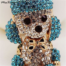 MissXiang Lucky Smile Dog Crystal Rhinestone Keyrings Key Chains Holder Purse Bag For Car christmas Gift Keychains llaveros(China)