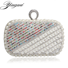 Hot Selling Beaded Women Evening Bags Diamonds Purse Day Clutches Metal Finger Ring Rhinestones Handbags For Wedding Bags