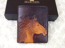 Hong Kong OLG.YAT 2015 New Zodiac Horse carved by hand Men's brief paragraph (vertical)purse/ wallet Italy  pure leather wallets
