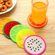 6Pcs/Set Fruit Coaster Colorful Silicone Tea Cup Drinks Holder Mat Placemat Pads(China)