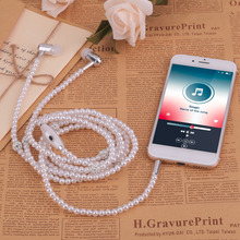 Fashionable Personal Women Pearl Plated Necklace Design Earphone Super Stereo In Ear Earphone For Apple For Android