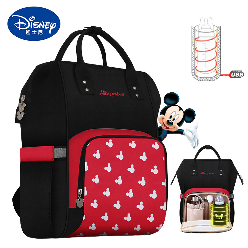 Disney Mummy Bag Diaper Bags USB Insulation Bottle Bags Bag Large Capacity Mom Baby Multifunction Travel Mickey Nappy Backpack