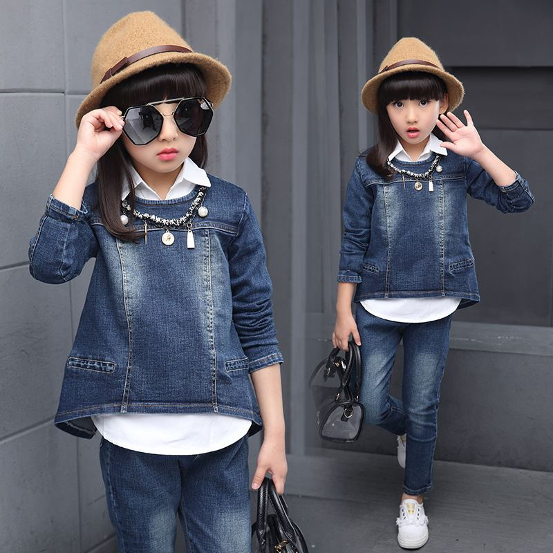 Childrens clothes 2017 autumn style infant baby kids clothing sets boys and girls cotton long sleeve 3pieces jackets denim suit<br>