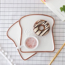 Good day for yourself Toast shape food plates for dinner tray ceramic plates creative dinnerware kitchen tools food tray(China)