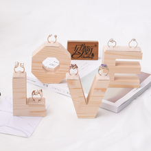 New Style Solid Wood Ring Display Holder Jewelry Display Stand Word Love Style Ring Display Stand(China)