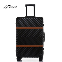 Letrend Aluminium Frame Rolling Luggage Spinner 20 inch Business Travel Bag retro Trolley Cabin Suitcases Wheel password Trunk(China)