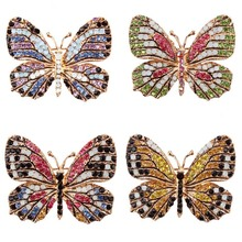 MJARTORIA Colorful Rhinestone Brooch Butterfly Fashion Brooches For Women Elegant  Brooch Jewelry Lapel Pin For Wedding Gift 1PC