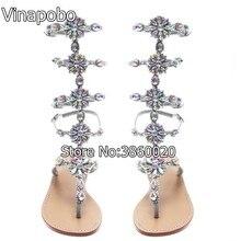 Vinapobo Summer Flats Sandal Gladiator Gold Sliver Rhinestone Knee High  Buckle Strap Woman Boots Bohemia Crystal Beach Shoes d27bc237299e