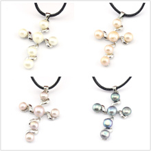 FREE SHIPPING !!! 100% Genuine White Pink Purple Black Natural Freshwater Pearl Sideways Cross Pendants -For Necklace
