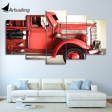 HD printed 5 piece canvas art Fire truck red vehicle wall pictures for living room modern free shipping CU-2515C(China)
