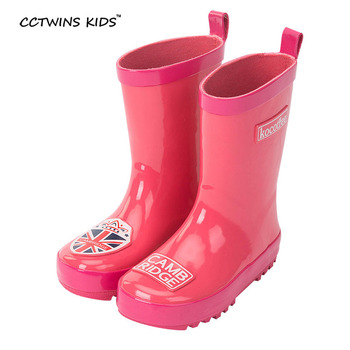 CCTWINS NIÑOS bebé del resorte del otoño moda botas de lluvia para los niños de goma zapato del cabrito marca wellington boot girls media pantorrilla de arranque