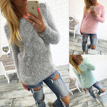 New Women Casual Autumn Winter Basic Sweater Knitted Plush T-shirt Tee Top Shirt blusas Full sleeve Plus Size