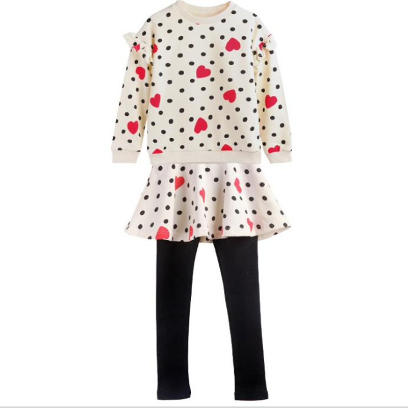 DFXD Teenagers Girls Clothing Set Spring 2018 Cotton 2pc Girls Outfits Long Sleeve Heart Dot Print Top+Skirt Pant Girl Set 4-12Y<br>