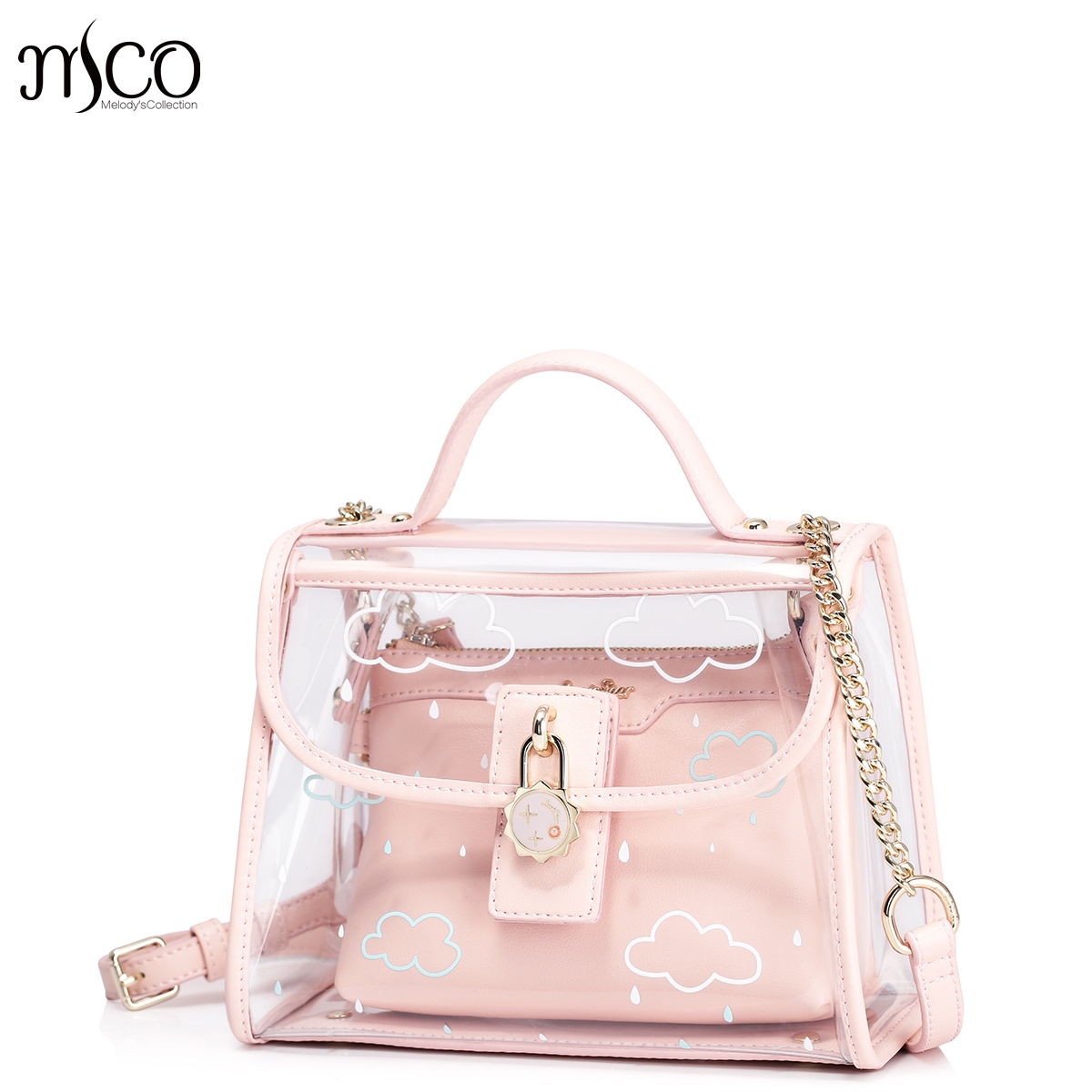 2017 Summer Pink Women Composite Bag Set For Beach PVC Clear Transparent Bags Shoulder Small Ladies Clutch Messenger Handbag<br>