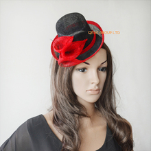 Red black Sinamay Mini Top Hat Fascinator for Formal Occassion,Kentucky Derby races.