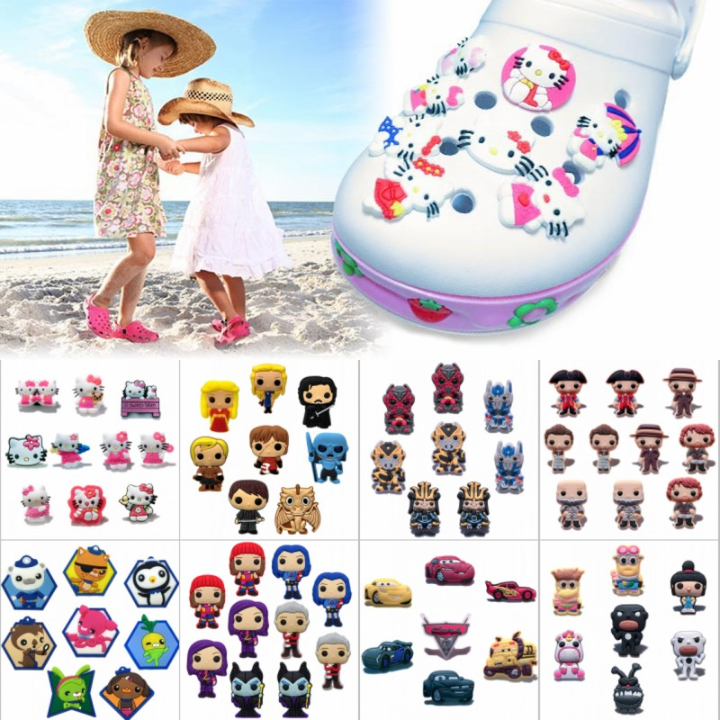7-10PCS/Lot Octonauts/Hello Kitty/Outlander PVC Shoe Charms,Shoes Accessories Fit Bands Bracelets Croc JIBZ,Kids Gifts(China (Mainland))