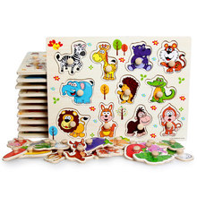 Zoo animals wooden puzzles for children 2-4 years old 3d puzzle jigsaw board educational toys for kids learning games fun letter