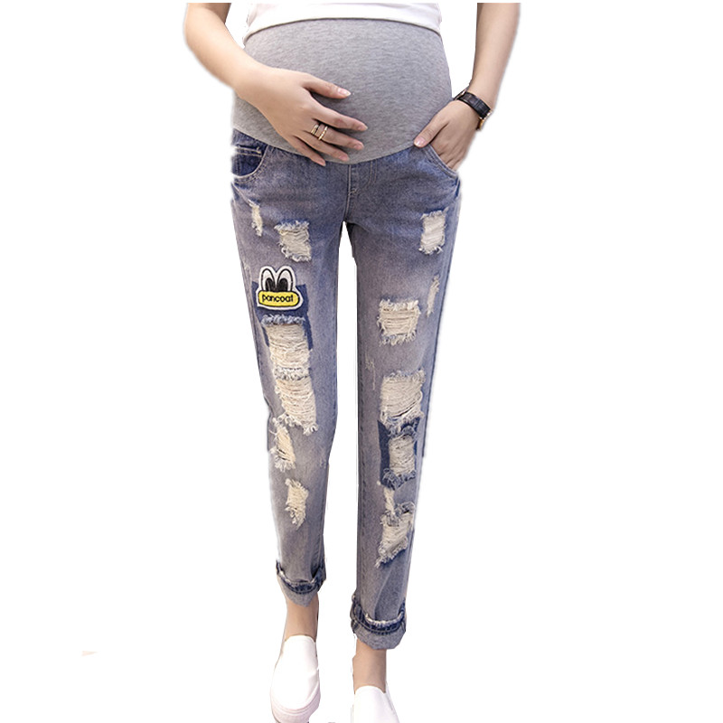 2017 New Maternity Jeans High Quality Cotton Trousers For Pregnant Women Denim Pregnant Jeans Plus Size Maternity Pants B0185<br>