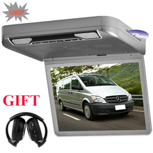 Free headphone 13.3inch car roof dvd player with game usb sd fm ir HDMI speakers+ car roof monitor + flip down car dvd
