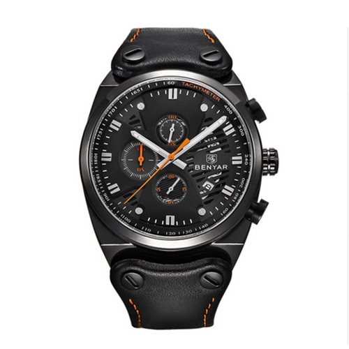 BENYAR Army Army Fashion Mens Wristwatch Chronograph Date Dial Genuine Leather Band Watches black orange<br>