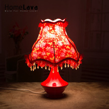 Hot 2016 New Christmas Holiday Gift Novelty Red Table Lamp For Wedding Bedroom Ceramic Desk Lamp Living Room Lamparas De Mesa(China)