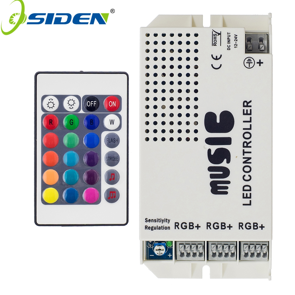 OSIDEN Music Led Controller DC12-24V 24key IR Remote Controller Wireless LED Music Sound Control for RGB LED Strips(China)