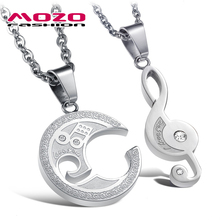 Wholesale 2016 New Fashion Jewelry Lovers' Romantic Musical Notes Splicing Pendant Women/men Stainless Steel Necklace MGX823
