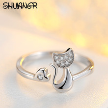 SHUANGR Charm Crystal Top Quality Cubic Zirconia Crystal Inlaid Cute Animal Cat Ring for Women/Girls(China)