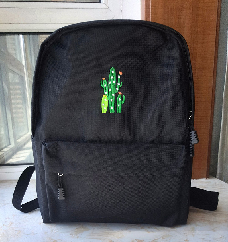 canvas backpack school bag embroidery (4)