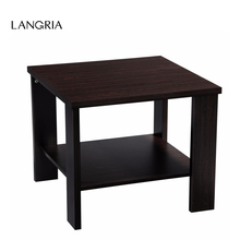 LANGRIA Modern Minimalist Square Coffee Tea Side Sofa End Table Night Stand with Bottom Shelf Black Walnut MDF Material
