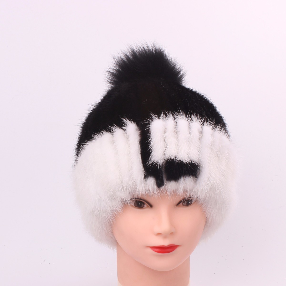 Mink Fur pompom Grass Ma'am girls Hats for women Manual Sew High Archives Winter Keep Warm Fox Woman hat female