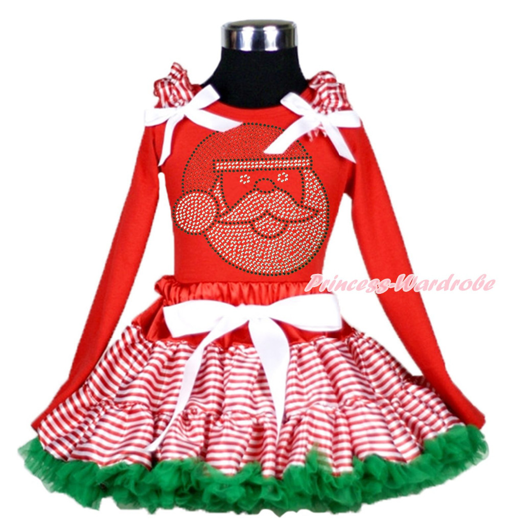 XMAS Hot Red Top Rhinestone Santa Claus Stripes Pettiskirt Girl Outfit Set 1-8Y MAMG208<br>