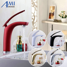 Newly Colorful Painted Basin Faucets Hot&Cold Mixer Bathroom Basin Tap Brass Gold/Chorme/White/Red Faucet Crane(China)