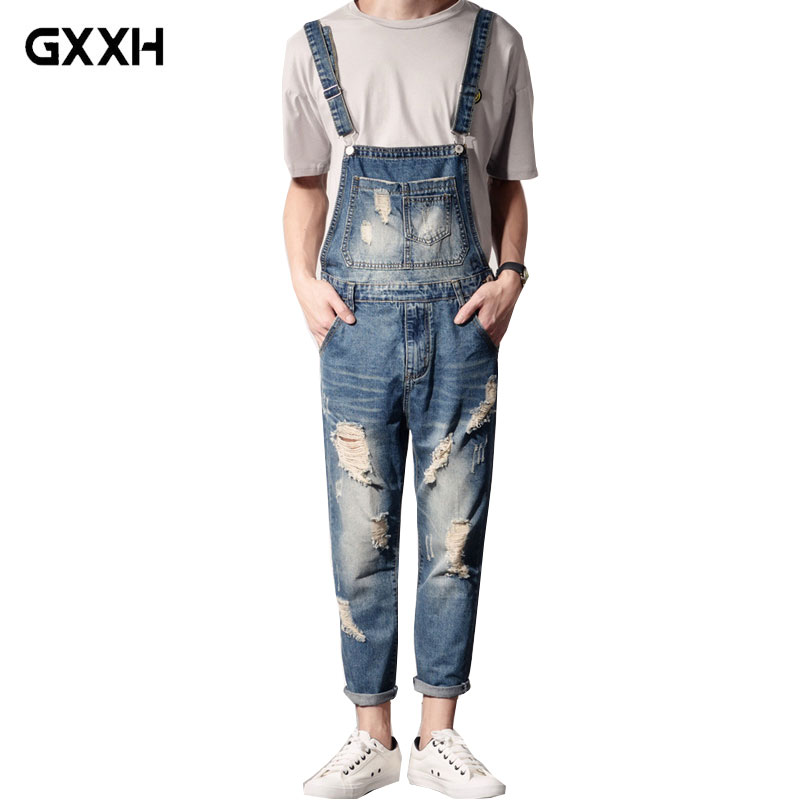New Men'S Plus Size Jeans Overalls Large Size Huge Denim Bib Pants Fashion Pocket Hole Jumpsuits Ankle Length Male 3XL 4XL 5XL