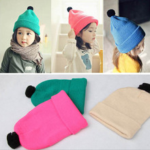 2017 Spring Autumn Candy Ball Wool Knitted Cotton Baby Hat bone Kids Girl Boy Winter Warm Beanies Cap Baby Clothing Accessories