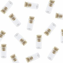 50pcs Mini Tiny Clear Cork Glass Bottles Jars Pendant with Cork Stoppers for Arts & Crafts Decoration Party for Jewelry Making(China)