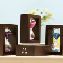 Multicolor Hourglass 30 Minutes Wood Hourglass  Real Beach Color Sand Timer for Kitchen Office School And Decorative Crafts