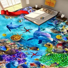Free Shipping waterproof thicken floor wallpaper kitchen walkway Sea World Dolphin Turtle 3D floor painting mural
