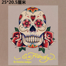 New 10PCS/1Lot Heat Transfer Personality Punk Skull  Flower  Iron On Patches  DIY Clothes T-shirt Brand  Logo Patch Applied