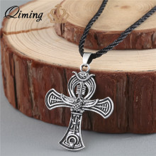 QIMING VAnkh Necklace Egyptian Cross Life Silver pendant Ankh Silver Necklace Women Charm Pendant Power of Life Viking jewelry(Hong Kong)