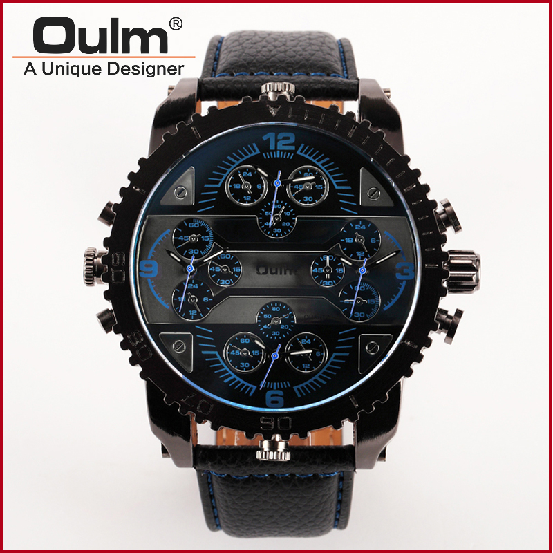 Oulm 3233 Leather Band 4 Time Zones Quartz Watch Military Watches with Double Movt Round Dial Famous Brand Men Analog Wristwatch<br><br>Aliexpress