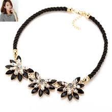 IPARAM 2016 Hot sale Brand Design western style multi-layer Weave Rhinestone Flower water drop necklace jewelry statement New(China)