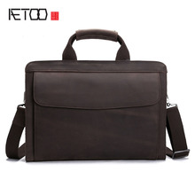 AETOO Leather Business Men 's Men' s Shoulder Bag Crazy Horse Leather Carrying Case