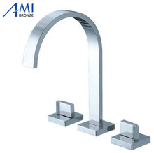 Bathroom Deck Mounted Bathroom Tap Sink or Bathtub Faucet Chrome 2 handles and spout= 3-pc set(China)