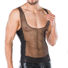 3710770b8f2 Sexy Men Faux Leather Lingerie Top Erotic Gay See Through Undershirts Mesh  Patchwork Tees Tight Shirt