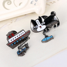 Shirt Cute Brooch Badge Pin Link Chain Fish with Cat Boat with Anchor Decoration Brooch Broche Accessory(China)