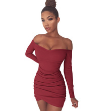 2017 Women Sexy Club Wear Summer Bodycon Dress 4 Colors Slash Neck Long Sleeve Skinny Party Ladies Elegant Dresses Vestidos XY(China)